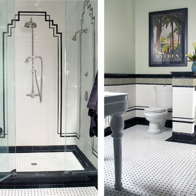 black and white bathrooms design tile accents and border tiles needs black toilet seat - Bordre Bad Bilder