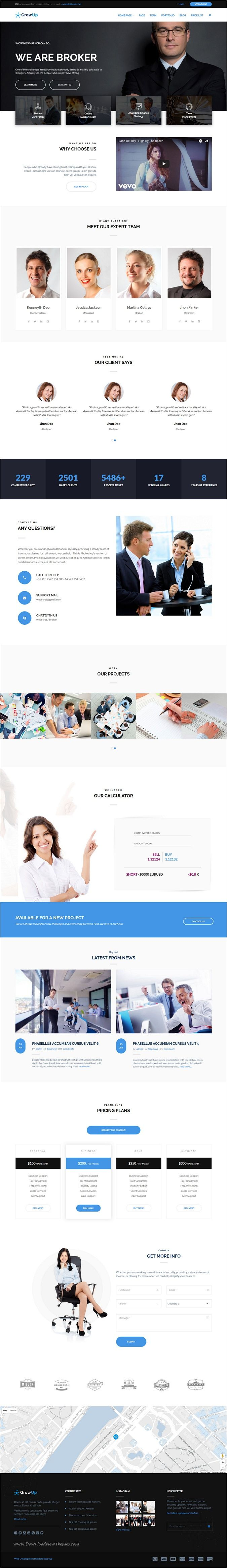 GrowUp is a modern design 6in1 professional #WordPress theme for #broker #insurance, business and financial websites download now➩ https://themeforest.net/item/growup-business-financial-wordpress-theme/18761663?ref=Datasata