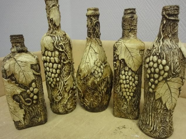 Мастер-класс «Бутылка с виноградом плюс бутылка с имитацией чеканки» - Ярмарка Мастеров - ручная работа, handmade