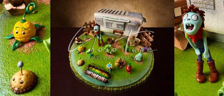 Торт на заказ Зомби против расстений
