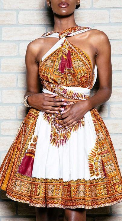 Dashki Fabric African Fashion Ankara Kitenge African: Dashiki Mini Infinity Dress. Ankara
