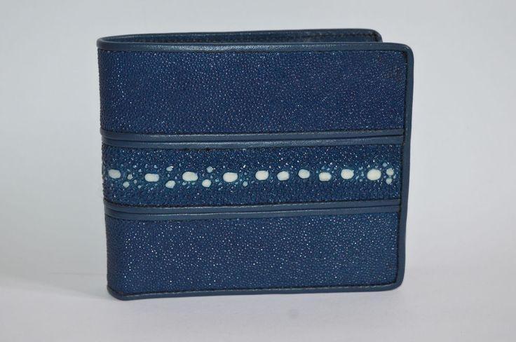 STINGRAY SKIN LEATHER BIFOLD MEN HANDMADE WALLET GENUINE SUPER GRADE BLUE PURSE #Handmade #Bifold