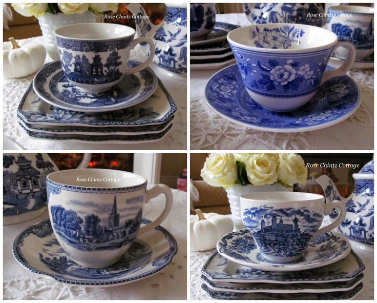 From top left to right~ Blue Willow by Johnson Brothers, Spode Blue Room, Royal Homes of Britain by Enoch Wedgwood, and the last pattern is Old Britain Castles made by Johnson Bros. I have two sets of Old Britain Castles in blue.