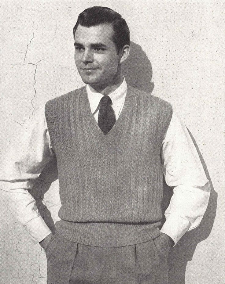 Ribbed Vest • 1940s Knitting Knit Sweater Sweatervest Pullover Jumper Top • 40s Vogue Vintage Pattern • Retro Men's Digital PDF by TheStarShop on Etsy