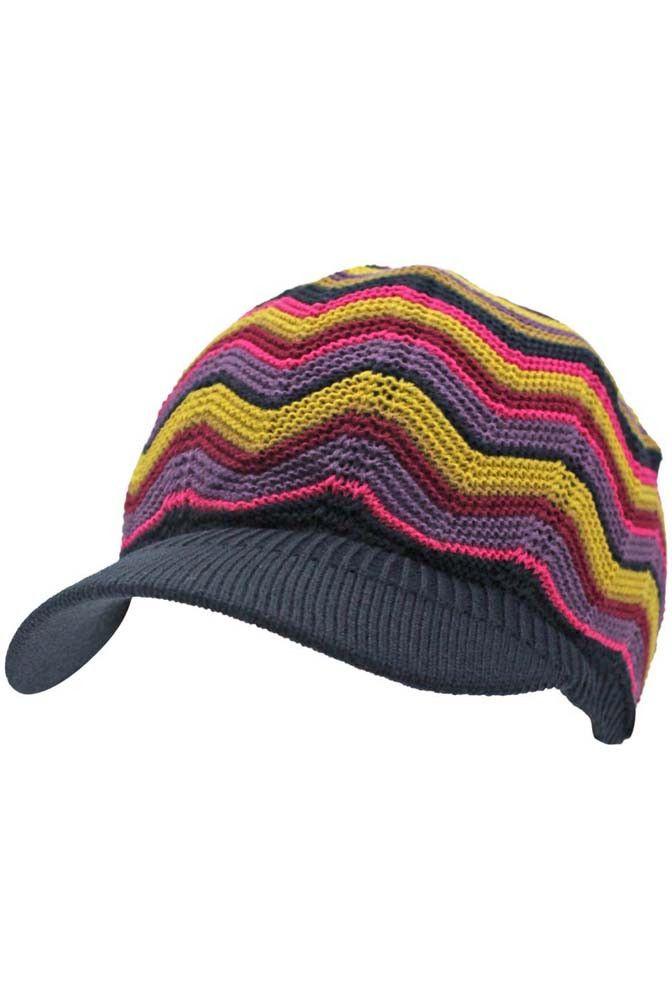 Chevron Stripe Knit Beanie Visor Cap –  EUR 18.00