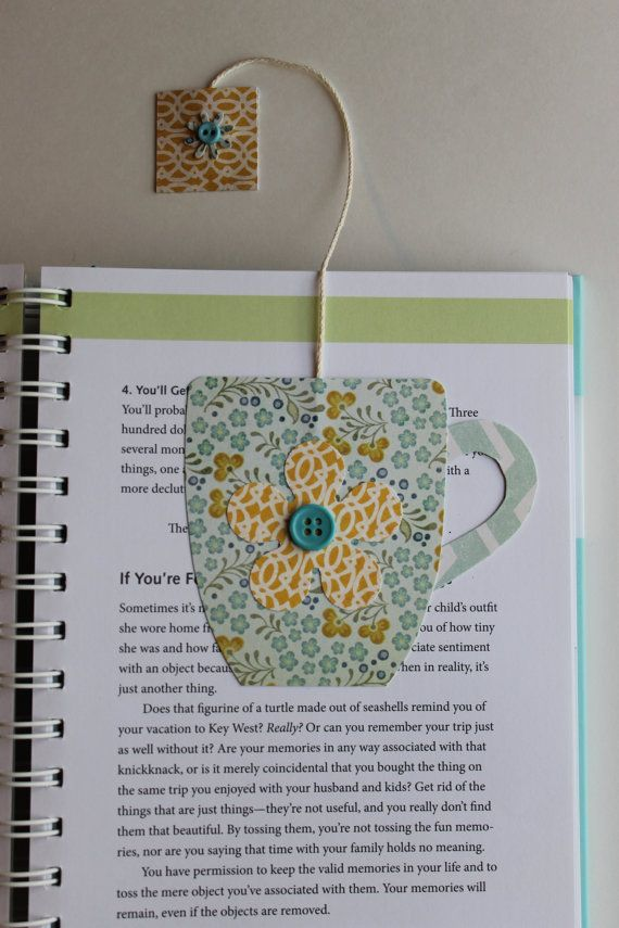 Paper Crafted Teacup Bookmark in Blues and Yellows...free shipping on Etsy, $3.25
