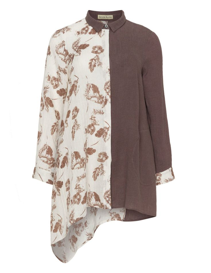 Multi-coloured shirt  in Brown / White designed by Isolde Roth to find in Category Blouses at navabi.de