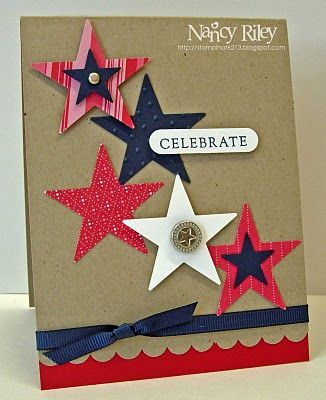really, really like the look of these patterned paper stars on kraft...