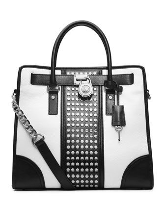 Hamilton Center-Stripe Studded Tote by MICHAEL Michael Kors at Neiman Marcus.  HELLO BEAUTIFUL!