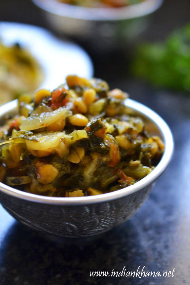 Radish leaves or mooli bhaji cooked with chana dal to make this vegan, gluten-free and delicious side dish