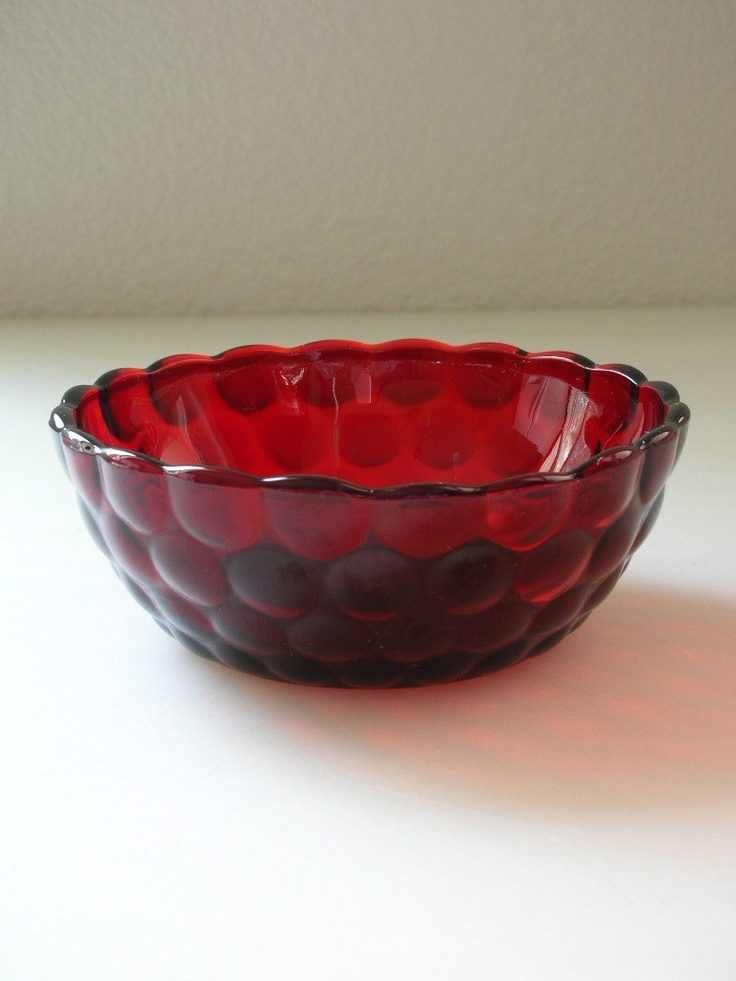 Ruby Red Glass Berry Bowl Anchor Hocking Red Bubble