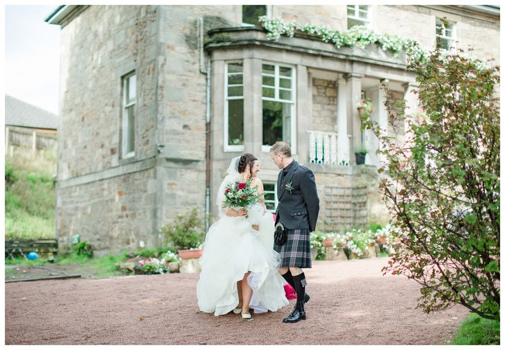 Scottish bride and father of the bride walking to wedding ceremony at home garden wedding in Elgin, Scotland. // ABERDEENSHIRE, SCOTLAND WEDDING PHOTOGRAPHY