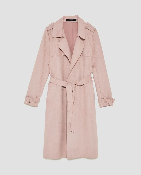61ae1a6d9e94 Image 8 of FAUX SUEDE TRENCH COAT from Zara