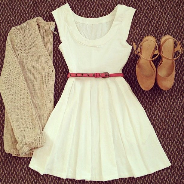 White dress, pink belt, beige cardigan, tan heels, spring outfit