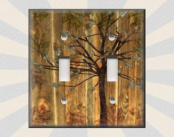 Metal Light Switch Plate Cover Rustic Woods Tree Decor Cabin Home