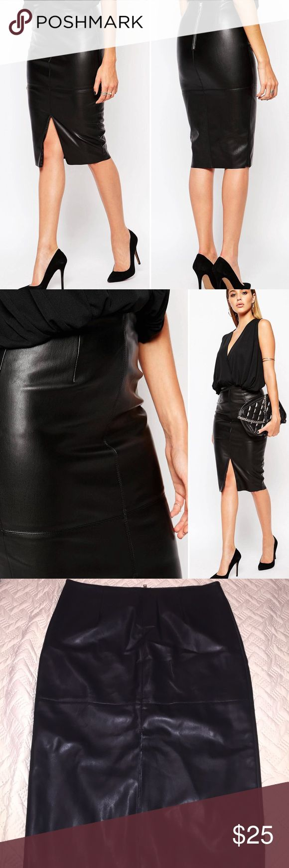 🎉ALL OFFERS CONSIDERED🎉Faux Leather Pencil Skirt This is an awesome faux leather pencil skirt with a middle slit in the front! I bought and never wore (new without tags)...this is a great skirt for date night! River Island Skirts Midi