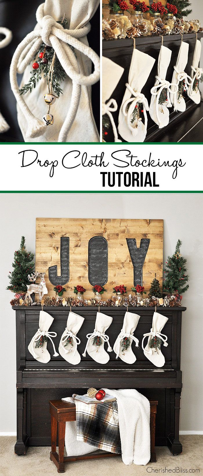 With this tutorial you can easily make your very own Drop Cloth Stockings for a budget friendly option!  What a great addition to your Christmas Decor