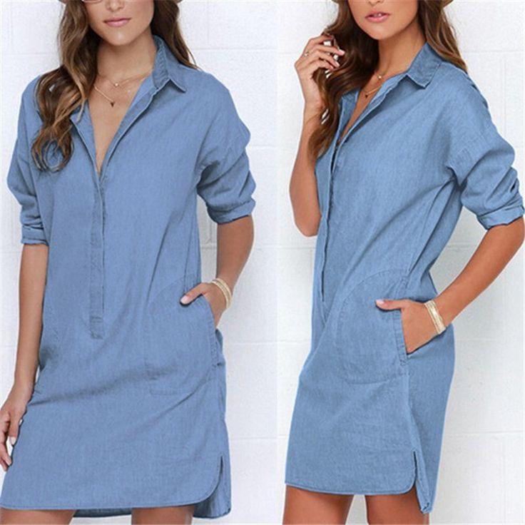 Джинсовое платье джинсы дамы осень зима платье 2015 женщин Vestido марка сплошной цвет полный рукав сине мини рубашка феста купить на AliExpress