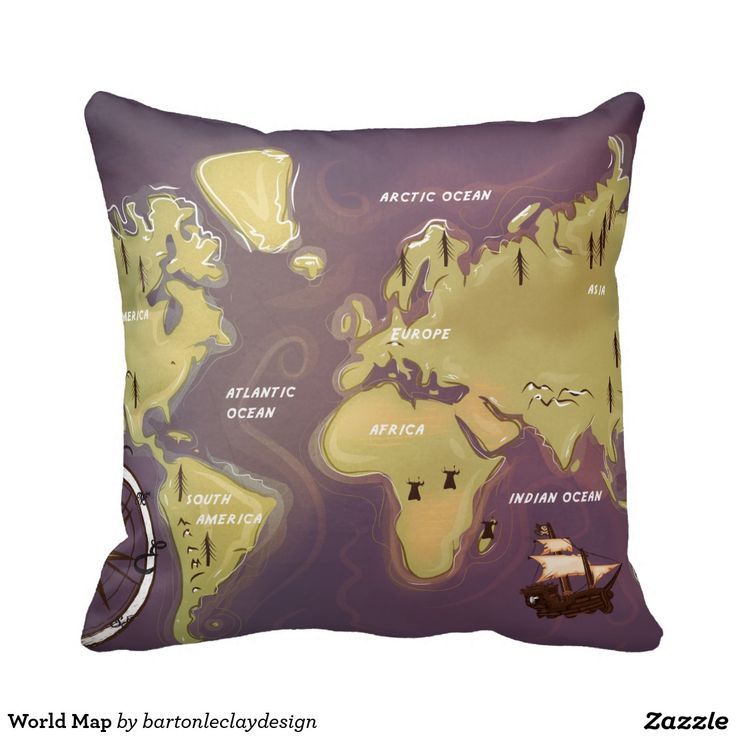Marvelous World Map Throw Pillows