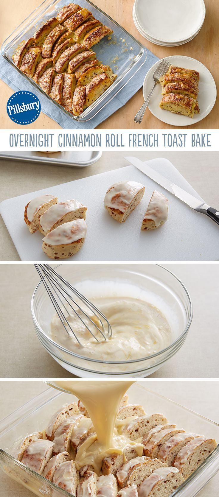 No time in the morning, but want a delicious breakfast? Try this overnight Cinnamon Roll French Toast Bake! You can prep it the night before, refrigerate and pop in the oven in the morning. Be sure to top it off with warm maple syrup! PS: Have you heard the good news? Pillsbury Cinnamon Rolls now have more icing (so this recipe is extra gooey and delicious)!