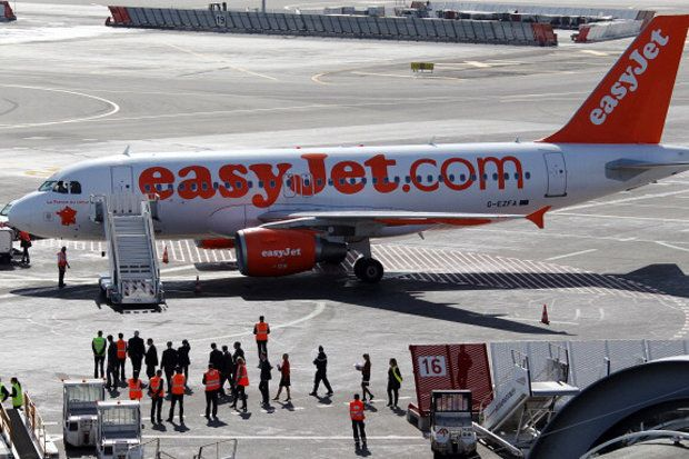 The Easyjet plane was due to depart Austrian capital Vienna at midday to travel to London but was evacuated after a woman spotted the alleged messages.