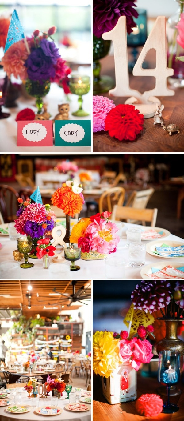 eclectic centerpieces. could use objects from childhood or heirlooms that are special to the couple