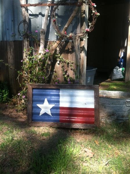 Rustic Wood Trimmed Texas Flag With Corrugate Metal Body. $35.00, via Etsy.