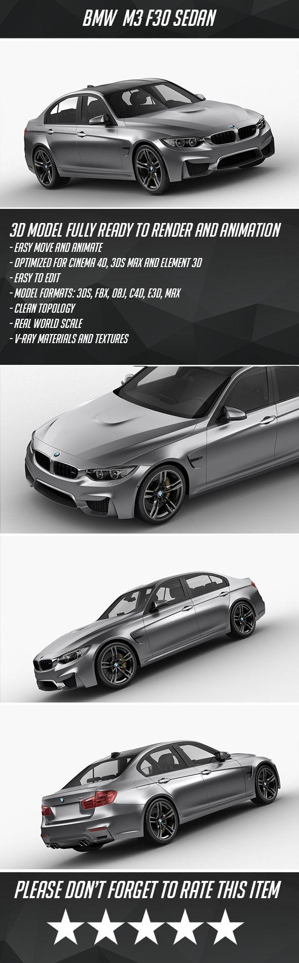 Bmw M3 F30 Sedan 2015 Fully Editable And Reusable 3d Model Of A Car 3d 3dmodel 3ddesign 4 Door 4d Bmw Car Cineam4d Element3d F 30 Bmw M3 Bmw Sedan