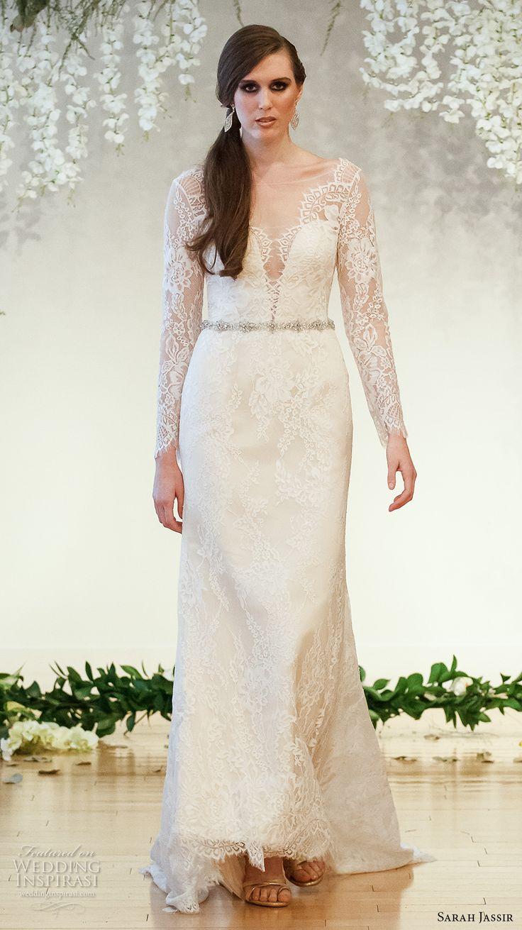 sarah Jassir robe pleine embellissement gaine élégante de mariage 2017 de mariée manches longues en dentelle v cou sweetheart profond décolleté bas du dos v train de balayage (2) mv