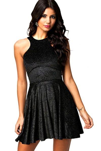 Black Velvet Sparkle Skater Dress
