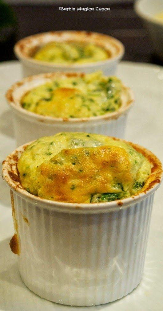 Soufflè di spinaci e caprino con crema di patate al limone