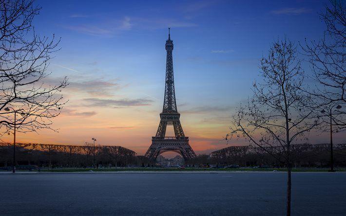 Lataa kuva Ranska, Pariisi, sunset, Eiffel-Torni, park