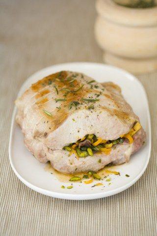Rôti de porc farci aux pistaches et à l'oranges