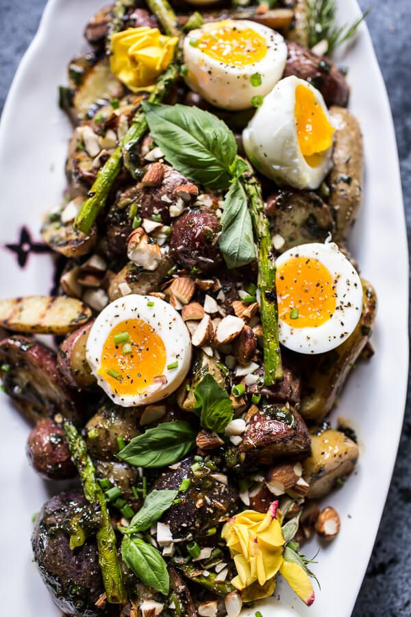 Grilled Potato Salad with Almond-Basil Chimichurri and 7-Minute Eggs   halfbakedharvest.com @hbharvest