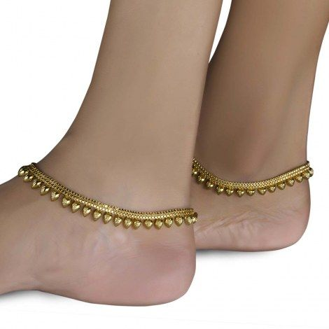 Indian Payal Anklets | Indian Gold Plated Heart Anklet Payal using high quality of gold ...
