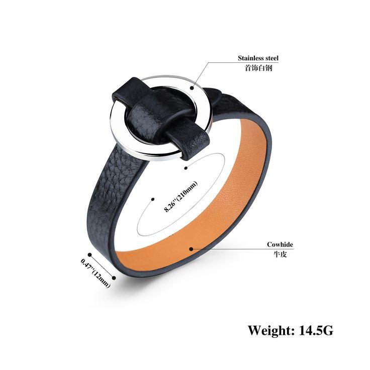 Aliexpress.com: Comprar Accesorios de moda Joyería Simple Ronda Hebilla de Acero Inoxidable Pulsera de Cuero para Hombres de bracelets for fiable proveedores en WYZOZJ Store