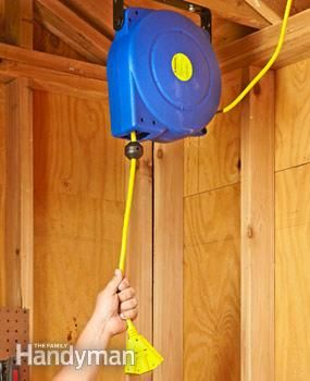 A retracting extension cord reel is a great garage upgrade. Keep your extension cord plugged in and ready to go, yet stored neatly out of the way