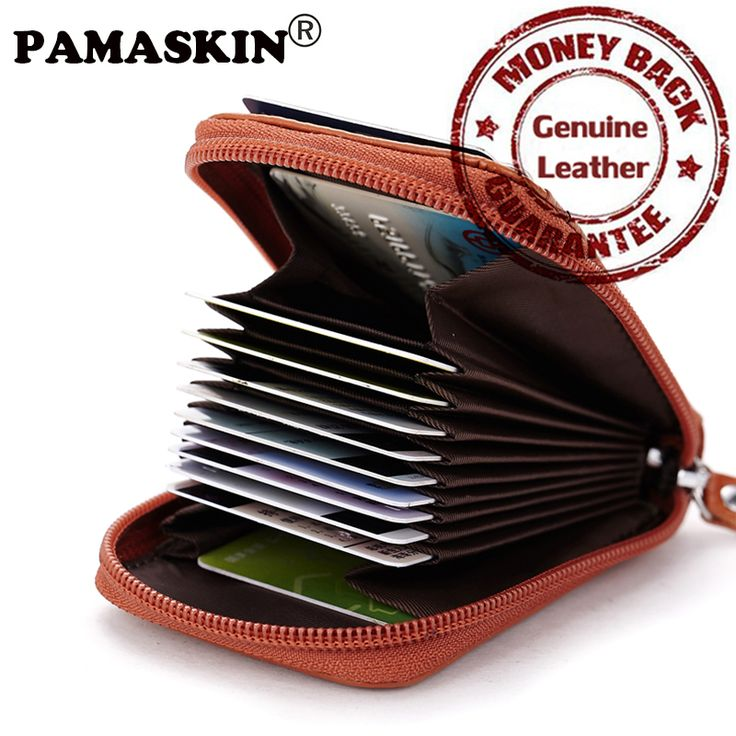 100% Cowhide Luxurious Leather European American Style Unisex Men & Women Business Card ID Holders Fashion Credit Card Wallets