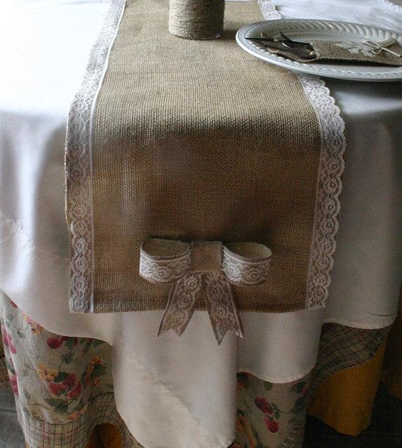 burlap table runner.