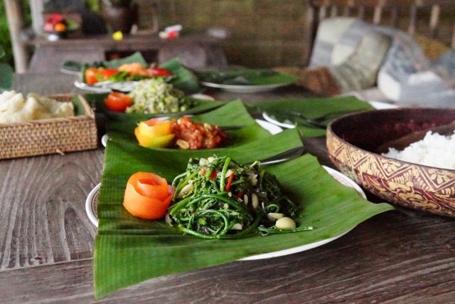 authentic village style Balinese food - fuel for our Sharing Bali Fitness Retreats