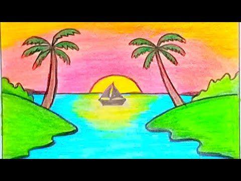 كيفية رسم منظر طبيعي سهل لغروب الشمس بالقلم الرصاص رسومات سهلة للمبتدئين Sunset Drawing Easy Drawings Easy Drawings