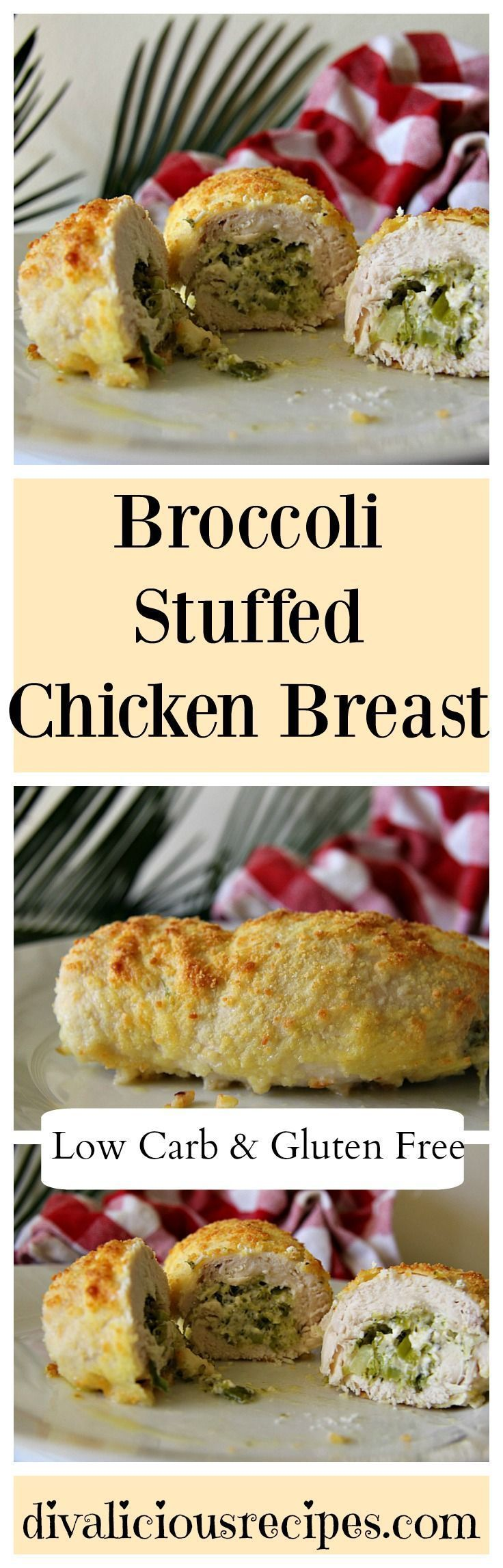A broccoli stuffed chicken breast recipe that has a filling of broccoli and feta cheese. The breast is then coated with Parmesan cheese. Recipe:  http://divaliciousrecipes.com/2017/03/02/broccoli-stuffed-chicken-breast/