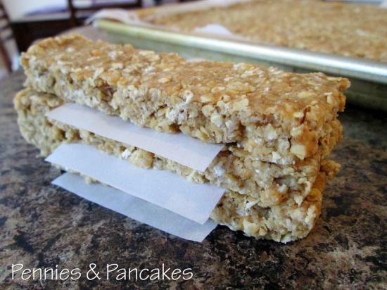 Homemade Granola Bars!  (I substituted Multi-Grain Cheerios for the Rice Crispies...DELISH!)