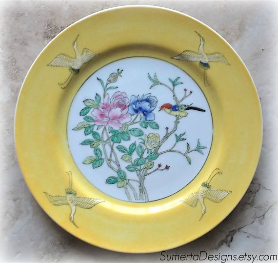 Macau decorative plate  Asian plate  yellow floral plate