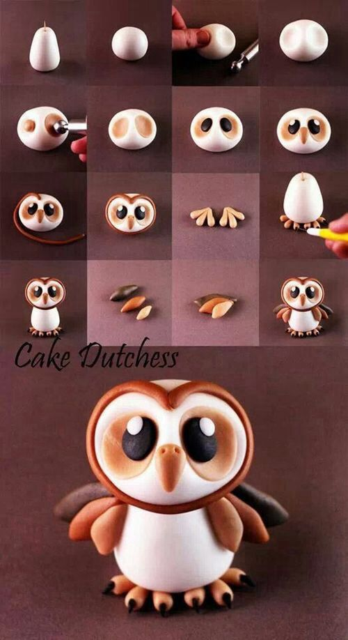 cute little owl.. could be made out of clay or fondant for a cake
