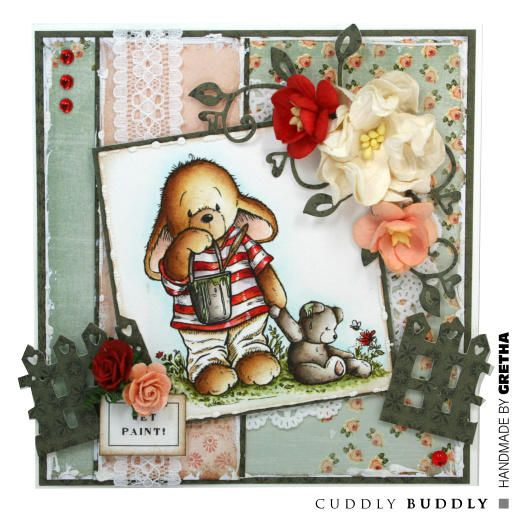 Pachela Studios Digi Stamp - Toby Tumble I've Been Painting! < Craft Shop | Cuddly Buddly Crafts