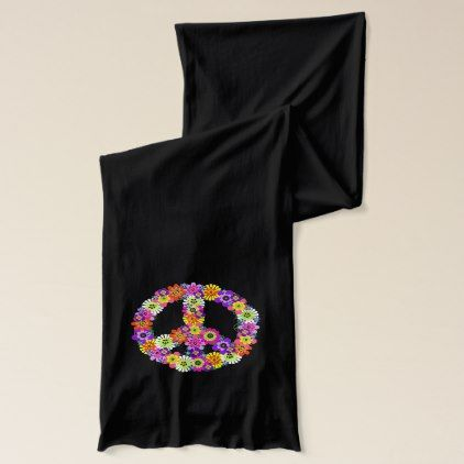 Peace Sign Floral Scarf - accessories accessory gift idea stylish unique custom
