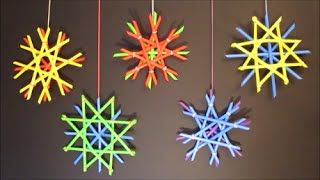 Plastic Straw Snowflakes   DIY Holiday Decor   Christmas Crafts For Kids. Inspired by traditional German straw stars and snowflakes technique (Strohsterne).