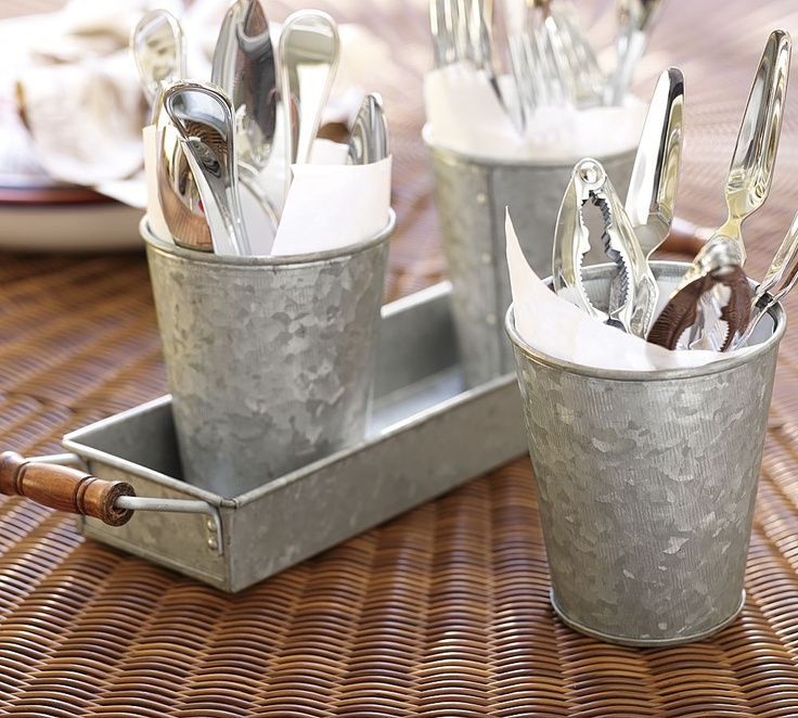 Galvanized Metal Cup & Tray Set