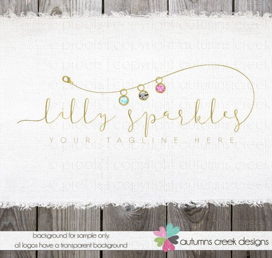 jewelry logo premade logo logos  logo with beads  by autumnscreek